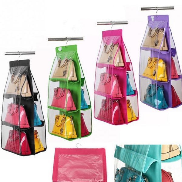 90*35*35cm 6 Grids Durable Non-Woven Fabric Handbags Finishing Hanging Bags Organizer Hang Storage Bag New Year Best Gift - Best price in 10minus