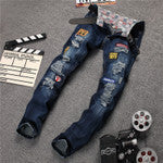 2016 New Designer Brand Printed Jeans Men High Quality Biker Jeans Slim Fit Denim Casual Skinny Jeans Famous Brand Overall - 10MINUS: Online Shopping Destination with High-Quality