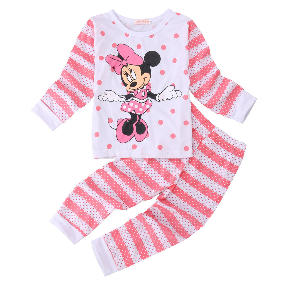 Cotton Kids Toddler Baby Girls Minn ie Mous e Sleepwear Pj's Cartoon Long Sleeve Top + Pant 2pcs Pajamas Sets 2-6Years - Best price in 10minus