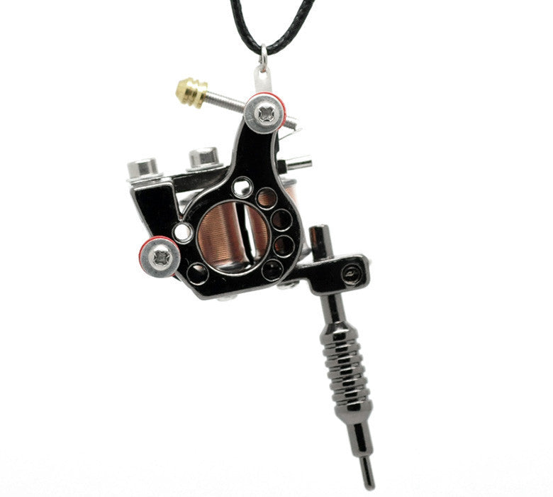 LASPERAL 1PC Gunmetal Mini Tattoo Machine Necklace Punk Style Pendant Necklace For Women & Men Hip Hop & Rock Jewelry Gifts - Best price in 10minus