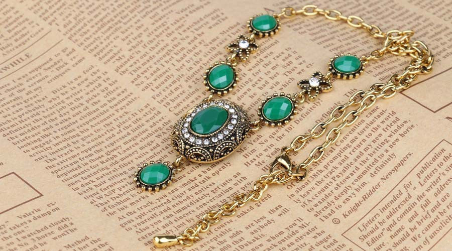 Gorgeous Antique Gold plated 2 Color  Resin Choker Pendant &Necklace Statement  Austria Women's Sweater Accessories YUN1076~077 - Best price in 10minus