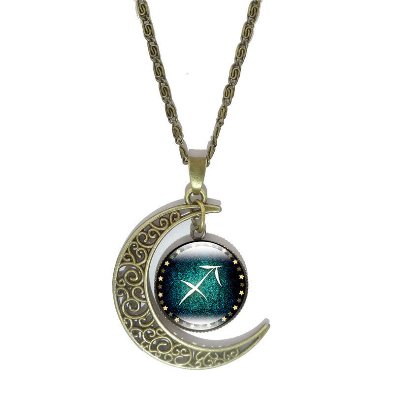 12 Constellation Glass Cabochon Pendant Necklace Vintage Bronze Crescent Moon Accessories Chain Necklace For Women Jewelry - 10MINUS: Online Shopping Destination with High-Quality