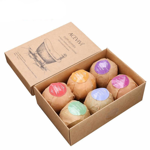 ACEVIVI Organic Bath Salt Bombs Skin Care Oil Sea Salt Handmade Bath Bombs Gift Set Pack of 6 Body Cleaner Rose Red Smell U2 - Best price in 10minus