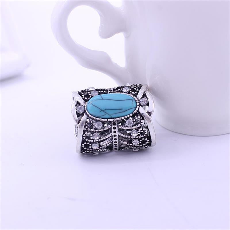 Newest Fashion Accessories Bohemia Vintage Bronze Silver Plated Turquoise Brooch Scarf Clips Lapel Pins Scarf Buckle Jewelry - Best price in 10minus