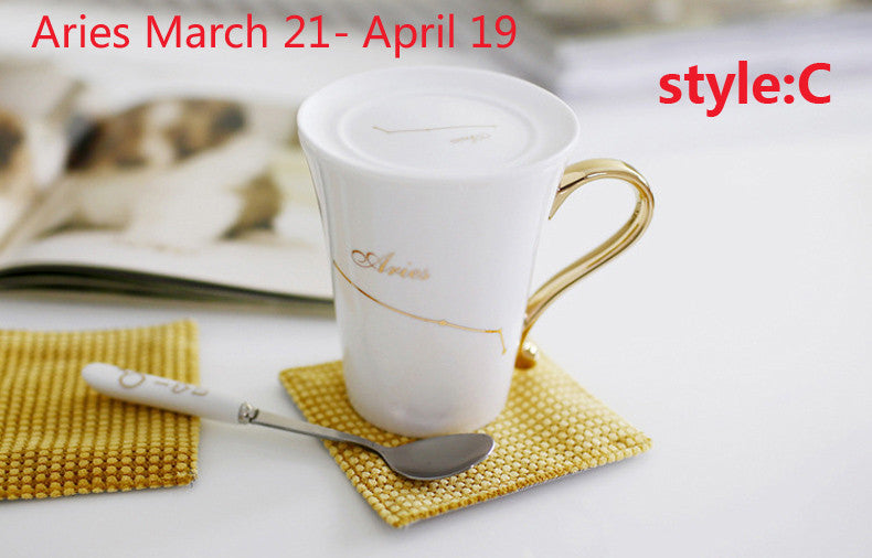 12 Constellation Coffee Cups Ceramic Gift Mugs  Gold-plating Bone China  For Lovers With Spoon/lid - 10MINUS: Online Shopping Destination with High-Quality