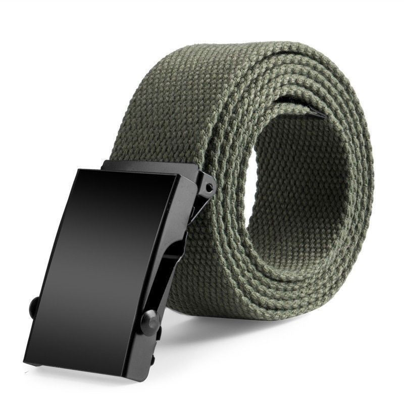 New Plain Canvas Military Web Belt Solid Black Metal Roller Buckle Mens Womens - 10MINUS: Online Shopping Destination with High-Quality