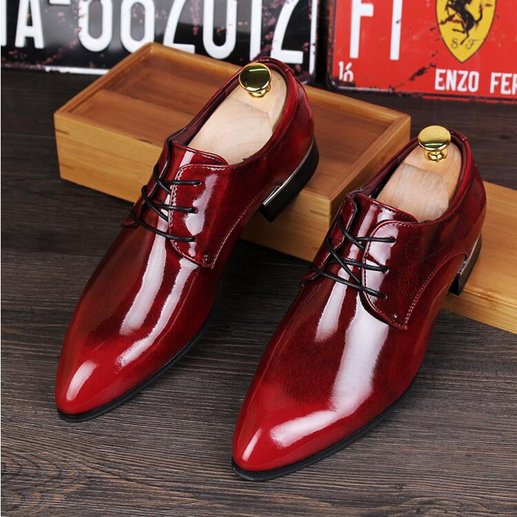 British Fashion Men's Genuine Leather Shoes Male Casual Flats Party Shoes Men Leather Oxfords Red Dress Wedding Shoes 4 Colors - Best price in 10minus