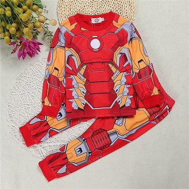 DTZ307  Free shipping !! 2017 New children's cartoon baby pajamas kids iron man Batman Spiderman costume boys baby clothes suit - 10MINUS: Online Shopping Destination with High-Quality