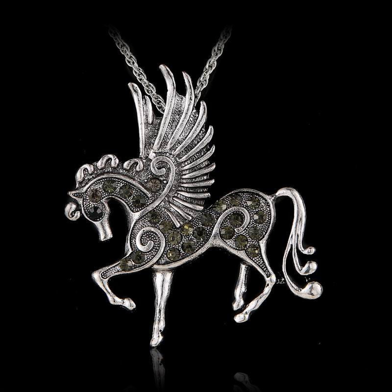Pink 2017 Clear Crystal Necklace Women Long Jewelry Sweater Necklaces Antique Silver Horse with Wings Pendants Necklaces Fashion - 10MINUS: Online Shopping Destination with High-Quality
