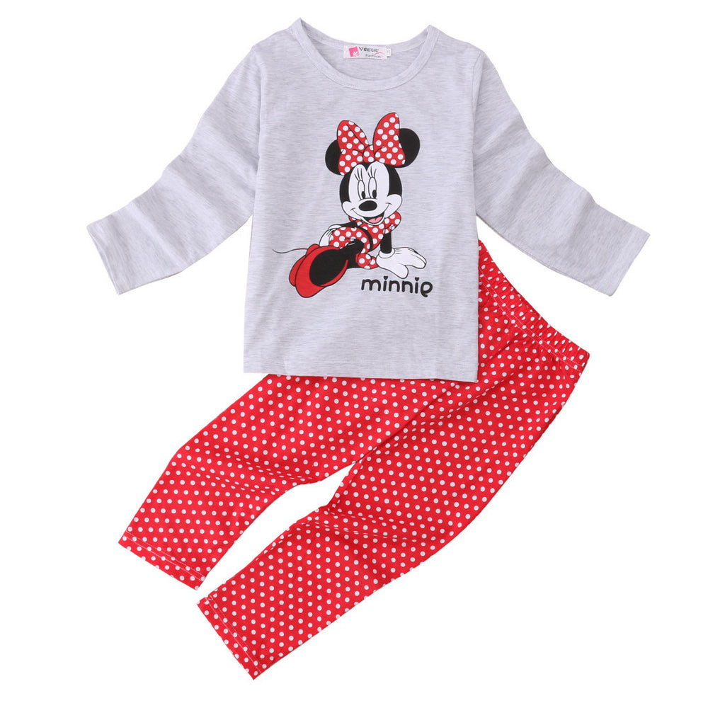 Cotton Kids Toddler Baby Girls Minn ie Mous e Sleepwear Pj's Cartoon Long Sleeve Top + Pant 2pcs Pajamas Sets 2-6Years - 10MINUS: Online Shopping Destination with High-Quality