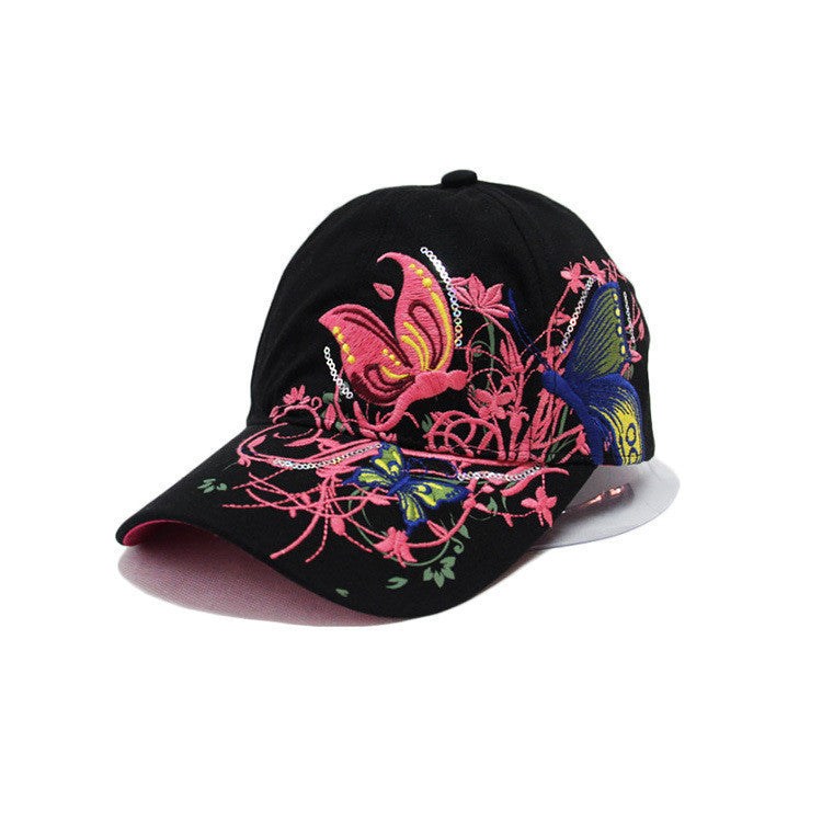 2016 New Fashion spring and summer butterfly embroidery Colorful flower women's sun-shading Baseball Cap  Women Hip Hop Hat B308 - 10MINUS: Online Shopping Destination with High-Quality