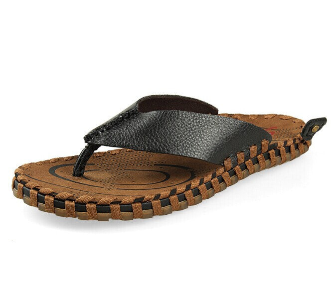 mature handwork gents slippers cow leather flip flops woven straw sole handmade straw sole mens classic sandals size US11 EU45 - Best price in 10minus