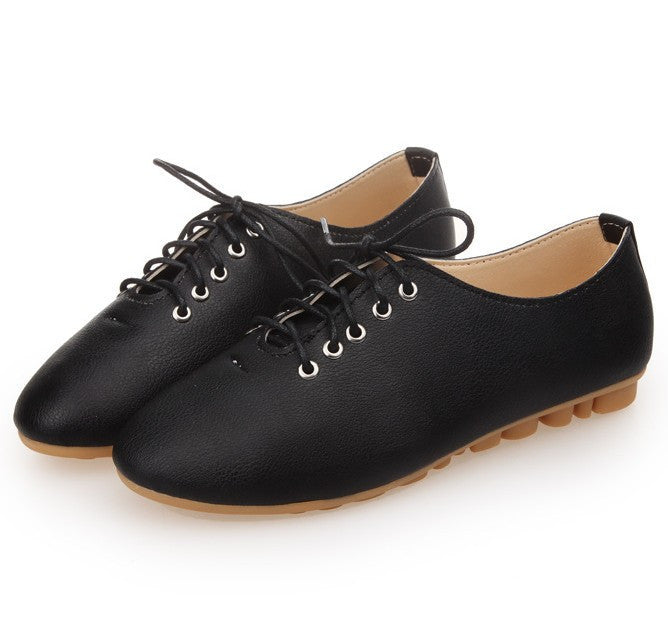 Women Black & White Lace up Oxfords Flats 2015 Casual Wedding PU Leather Shoes Ladies Party Oxford Shoes Mujeres Pisos Zapatos - 10MINUS: Online Shopping Destination with High-Quality