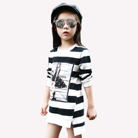 2017 Spring Autumn Girls Children's Stripe Printed Asymmetrcal Clothes Infant Kids Costume Princess Baby Next Party Dresses - Best price in 10minus