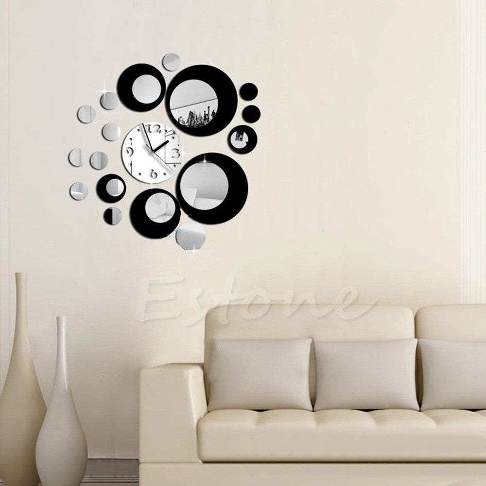 Hot Circles Acrylic Mirror Style Wall Clock Removable Decal Art Sticker Decor Freeshipping Y102 - Best price in 10minus