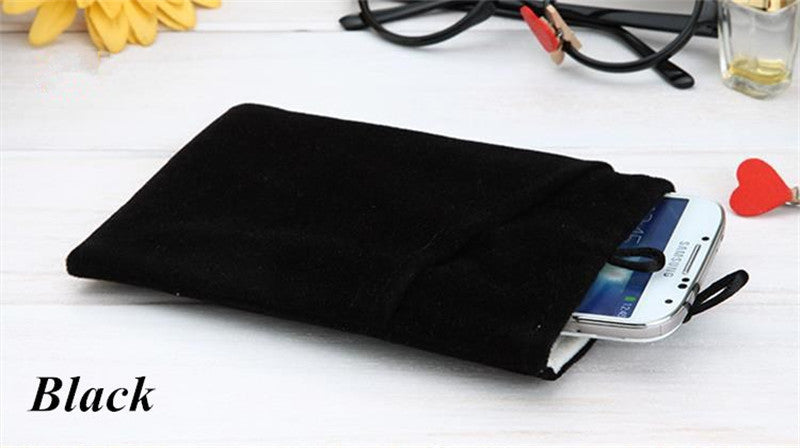 Universal Fabric Phone Pouch Case Soft Velvet Smartphone Pocket Bag 5.5'' 5.0'' 4.3'' for iPhone 7 6S 6 Plus SE 5S 5 5C 4S 4 - Best price in 10minus