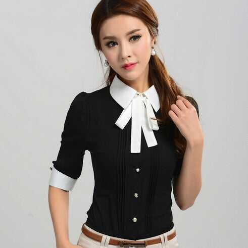 New Work Wear Office 2016 Shirt  Women Tops Black Pink Blue White Slim Half Sleeve Turn-Down Collar Blouse Shirt Women 2569 - 10MINUS: Online Shopping Destination with High-Quality