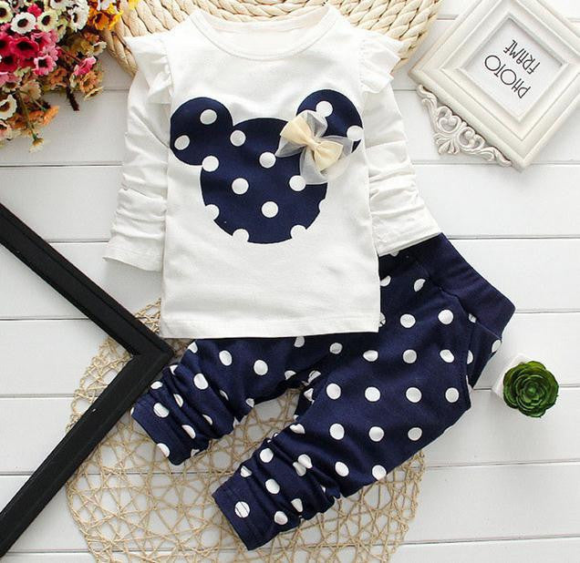 2017 New kids clothes girl baby long rabbit sleeve cotton Minnie casual suits baby clothing retail children suits Free shipping - 10MINUS: Online Shopping Destination with High-Quality