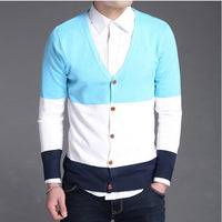 2016 Hot Cardigan Men Sweater Brand V Neck Long Sleeve Sweaters Knitting Casual Men Sweater Plus Size Patchwork Mens Cardigans - 10MINUS: Online Shopping Destination with High-Quality