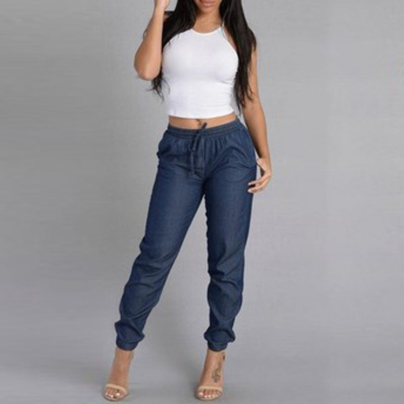 2016 New Spring Autumn Women Jeans Casual  Pencil Pants Navy Blue Trousers Loose Pants Female Clothing QL2171 - 10MINUS: Online Shopping Destination with High-Quality