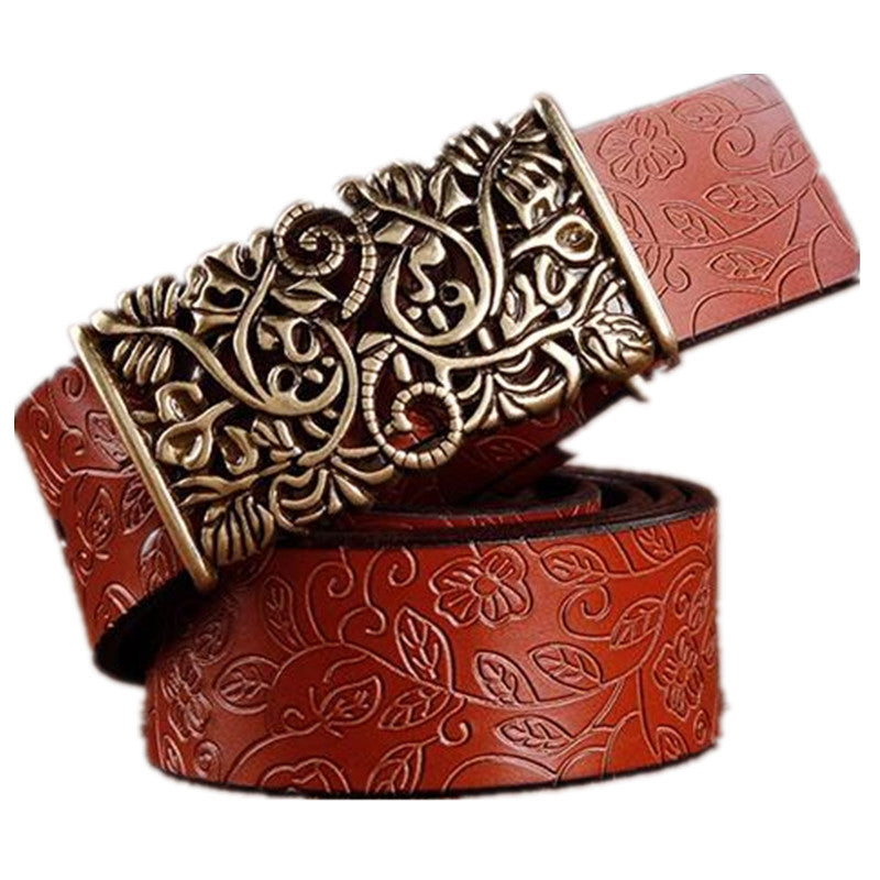 2016 Genuine Cowskin Leather Belts For Women Carved Design Retro Metal Women Strap Cintos Ceinture Female High Quality Belts - 10MINUS: Online Shopping Destination with High-Quality