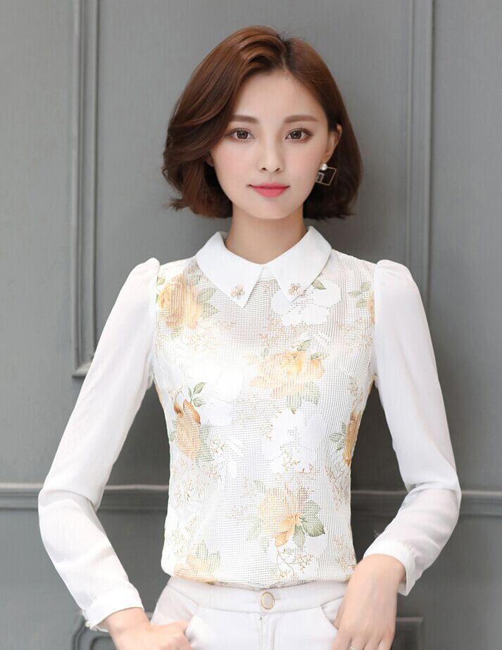 2016 Autumn New Women's lace blouse Elegant long-sleeved Printed Tops Plus size Blusa Fashion Ladies blouse shirt - 10MINUS: Online Shopping Destination with High-Quality