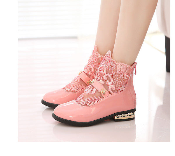 Children Single Shoes Girls Casual Shoes Fashion Zipper Closure Cool Boots Princess Lace Flower Sandals Shoes - Best price in 10minus