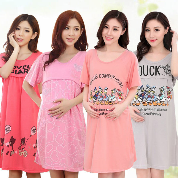 Clothing Summer Nightgown Maternity Dress Month Pregnant Women Maternal Breastfeeding Clothing Home Furnishing Feeding Out - Best price in 10minus