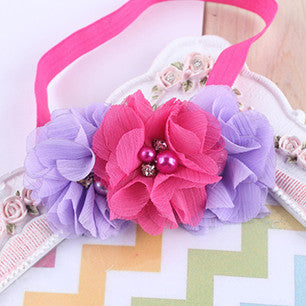 1 Pieces Newborn Baby Headband Chiffon 3 Flower Pearl Diamond with A Shimmer Headbands Elasticity Baby hair accessories W045 - 10MINUS: Online Shopping Destination with High-Quality