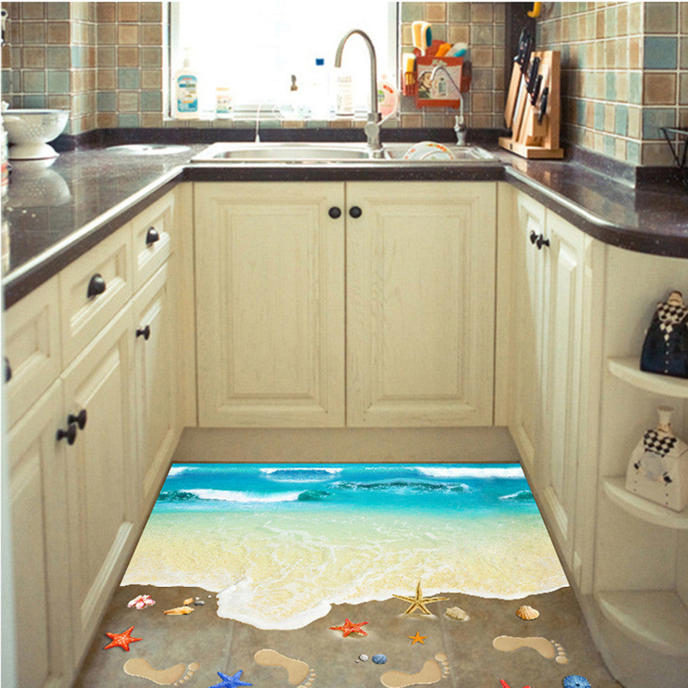 Creative 3D Wall Stickers Starfish Shell Footprint Sea Beach PVC Home Decor Wall Decal Bathroom Floor Sticker Kids Poster 1Sheet - Best price in 10minus