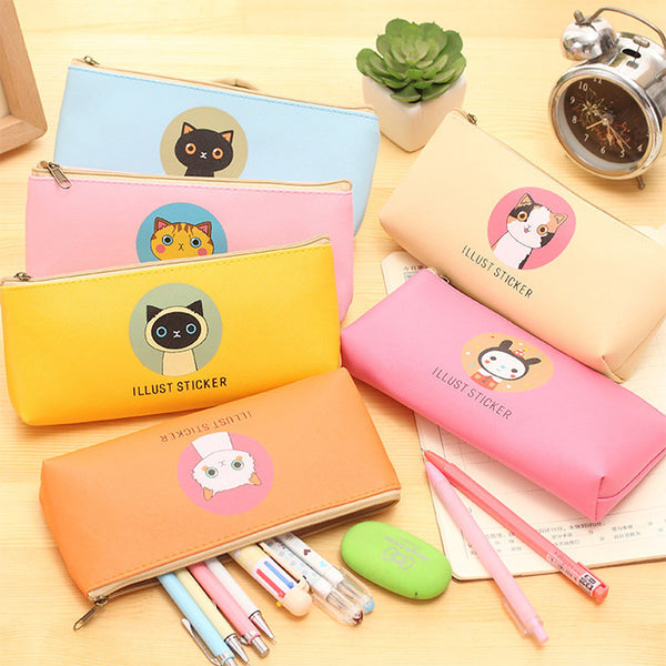Creative Happy Cats Family PU Leather Waterproof Pencil Case Stationery Storage Bag School Office Supply Escolar Papelaria - Best price in 10minus