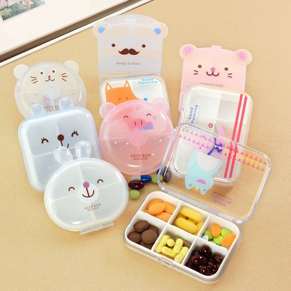 Cute Mini Cartoon Vitamin Tablet Pill Box Kawaii Drug Case Food Organizer Storage Container Medicine Box Kit Free Shipping 268 - Best price in 10minus