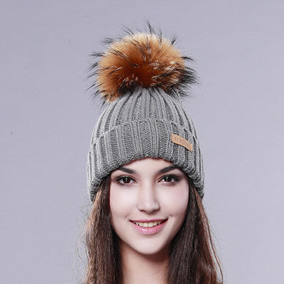2016 Furtalk  Real Fur Hat Knitted Real Big  Raccoon  Pom Pom Hat Women Winter Hat - 10MINUS: Online Shopping Destination with High-Quality