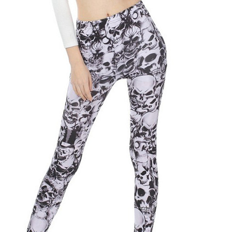 2016 Fashion Sexy Skull Print Leggings Stretchy Pants Womens Punk Style Trousere New Beauty - 10MINUS: Online Shopping Destination with High-Quality