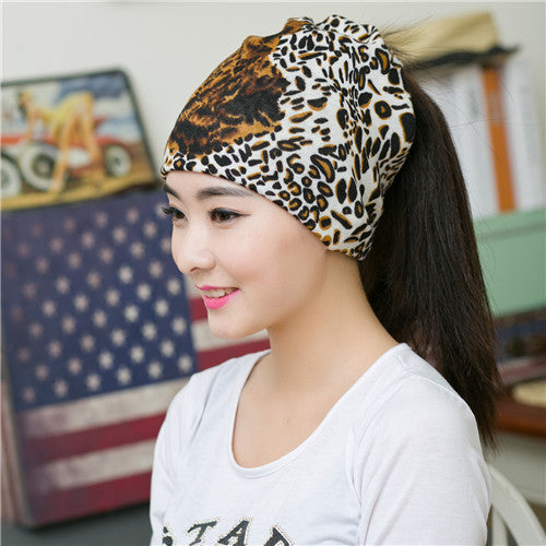 2016 New Fashion Leopard Color Hip-hop Beanies For Women Hat Scarf Cap 3 Way To Wear Multifunctional Popular Beanies - 10MINUS: Online Shopping Destination with High-Quality