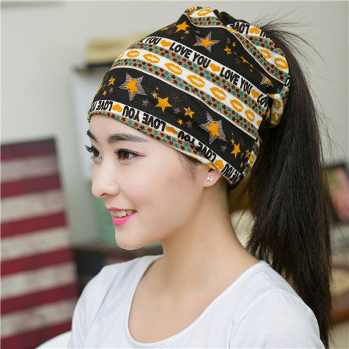 2016 New Fashion Spring & Autumn Beanies Hat For Women 3 Ways To Wear Star Skullies LOVE YOU Printed Lovers Bonnet Beanies - 10MINUS: Online Shopping Destination with High-Quality