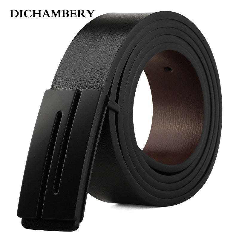 [DICHAMBERY] New Brand Designer Mens Belt Luxury Style Real Leather Belts For Men Metal Buckle Male Strap D0011 - 10MINUS: Online Shopping Destination with High-Quality