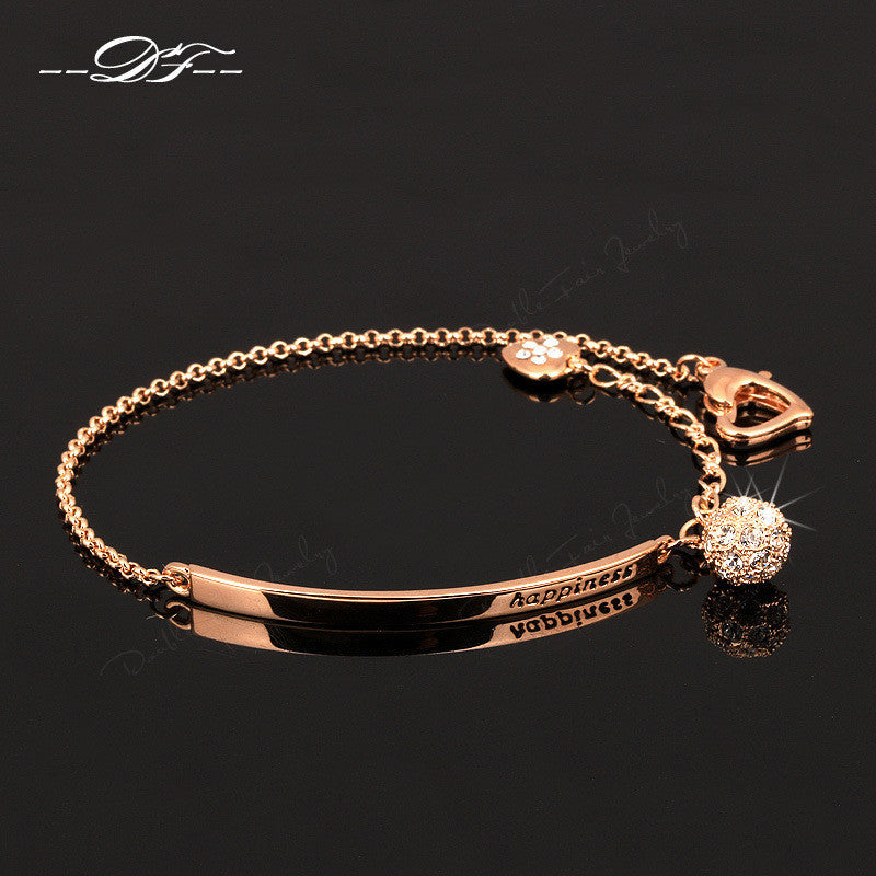 Double Fair OL Style CZ Diamond Ball Fashion Party Charm Bracelets & Bangles Rose Gold Plated Crystal Jewelry For Women DFH196 - Best price in 10minus
