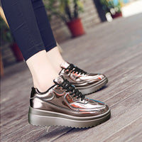 EOFK Women Gold Brown loafers Comfortable Flat Platform Shoes Fashion Casual Shoes Patent Leather Designer Flat Women Shoes - 10MINUS: Online Shopping Destination with High-Quality