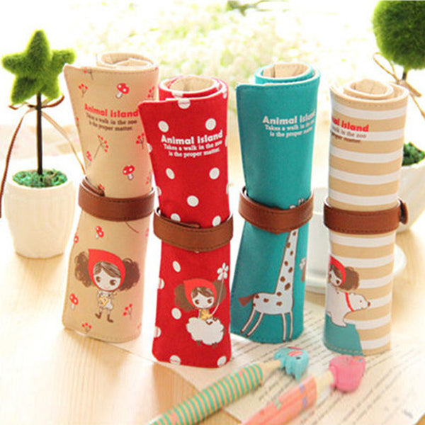 Fantastic Large Capacity Holes Canvas Pencil Case Kawaii Girl's Student Art Roll Pouch Brush Pen Storage School Stationery Bags - Best price in 10minus