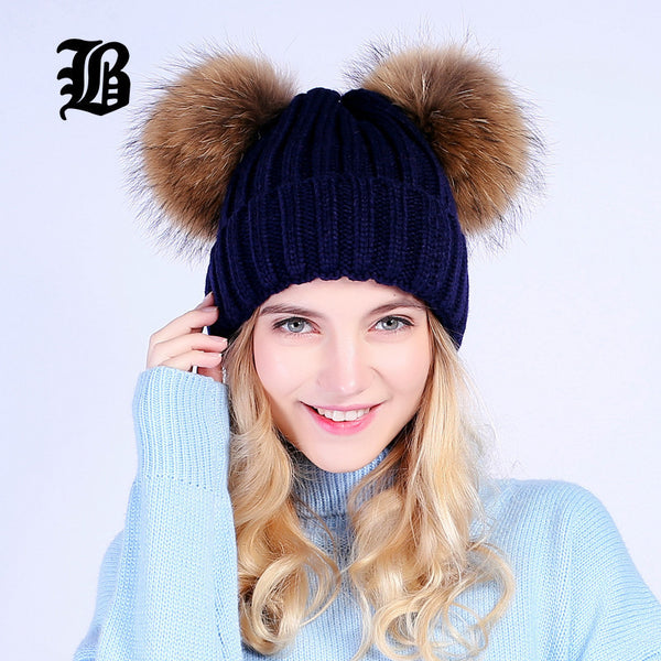 10 minus [FLB] mink fur ball cap 2 pom poms winter hat for women girl 's wool hat knitted cotton beanies cap brand new thick female cap [FLB] mink fur ball cap 2 pom poms winter hat for women girl 's wool hat knitted cotton beanies cap brand new thick female cap [FLB] mink fur ball cap 2 pom poms winter hat for women girl 's wool hat knitted cotton beanies cap brand new thick female cap