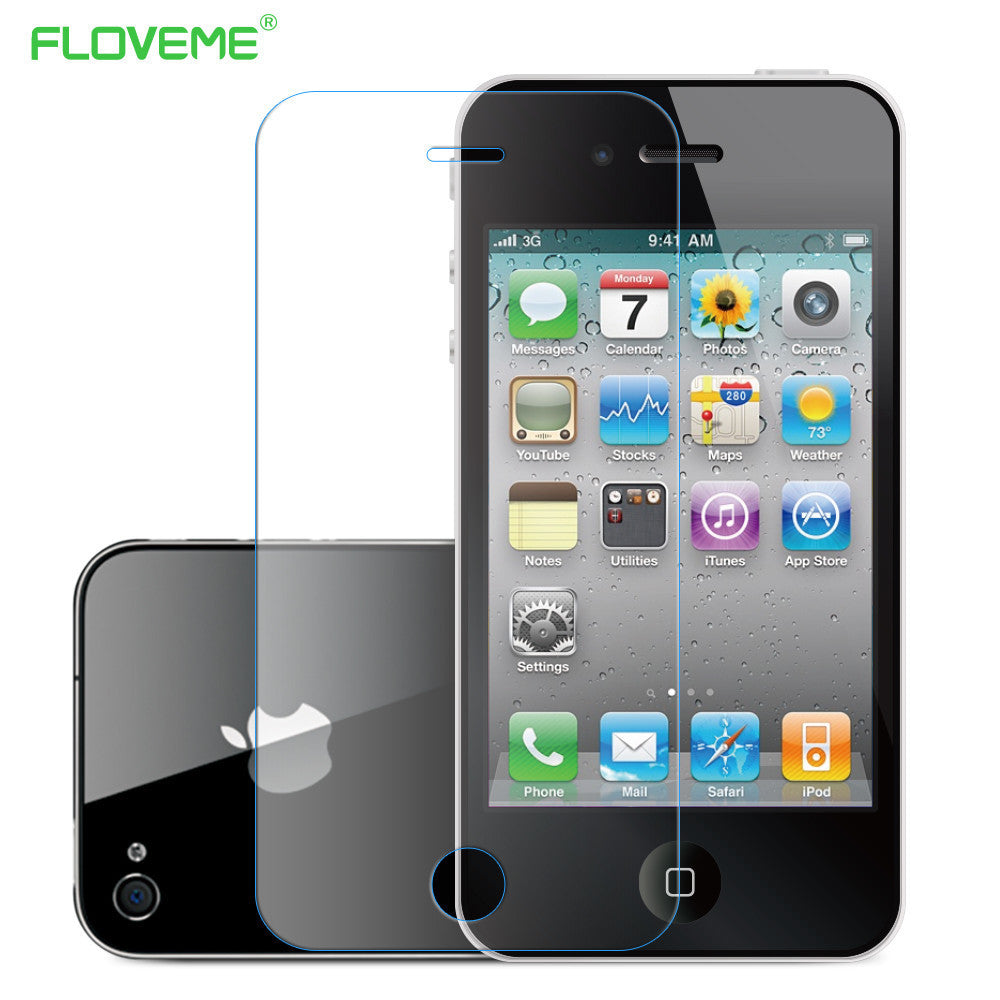 Floveme for iPhone 5 SE 4s Tempered Reinforced Glass Front Screen Protector Case For Apple iPhone 5 5S SE 4S Clear Film +Package - 10MINUS: Online Shopping Destination with High-Quality