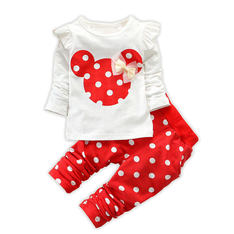 Free shipping 2017 new children's cartoon baby girls minnie dots Long Sleeve  two piece suit girls clothes kids bebe - 10MINUS: Online Shopping Destination with High-Quality