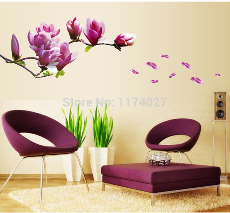 Free shipping Beautiful Mangnolia Flowers Wall Stickers Beautiful Home Decor Decoration Removable art decals - Best price in 10minus
