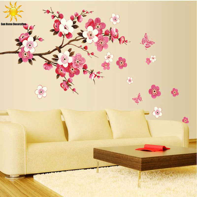 Free Shipping Removable PVC Modern  Peach blossom  Butterfly Home Decor Art  Wedding Room Girls Room Wall Stickers  Decal Poster - Best price in 10minus