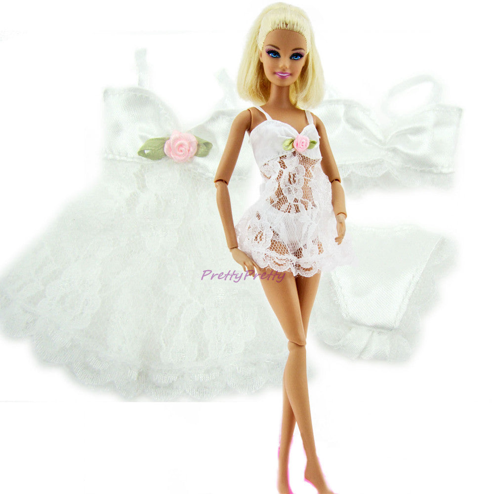Free Shipping White Sexy Pajamas Lingerie Lace  Costumes  + Bra + Underwear Clothes For Barbie Doll Clothes Hot Sell - 10MINUS: Online Shopping Destination with High-Quality