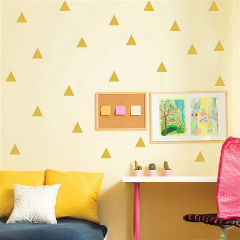 48pcs/sheet Mini Triangles Wall Sticker Kids Room Wall Decoration adesivo de paredes Decals Home Decor DIY Peel And Stick Art - 10MINUS: Online Shopping Destination with High-Quality