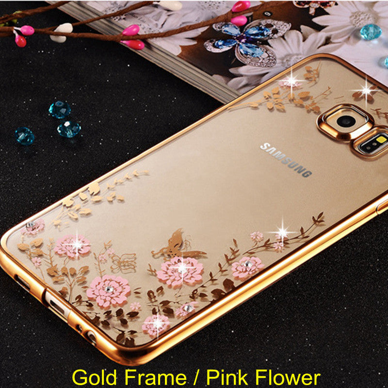 Frame Clear Case Cover For Samsung Galaxy A3 A5 A7 2016 2015 J3 J5 J7 Grand Prime S3 S4 S5 S6 S7 edge Flower Diamonds Soft Cases - Best price in 10minus