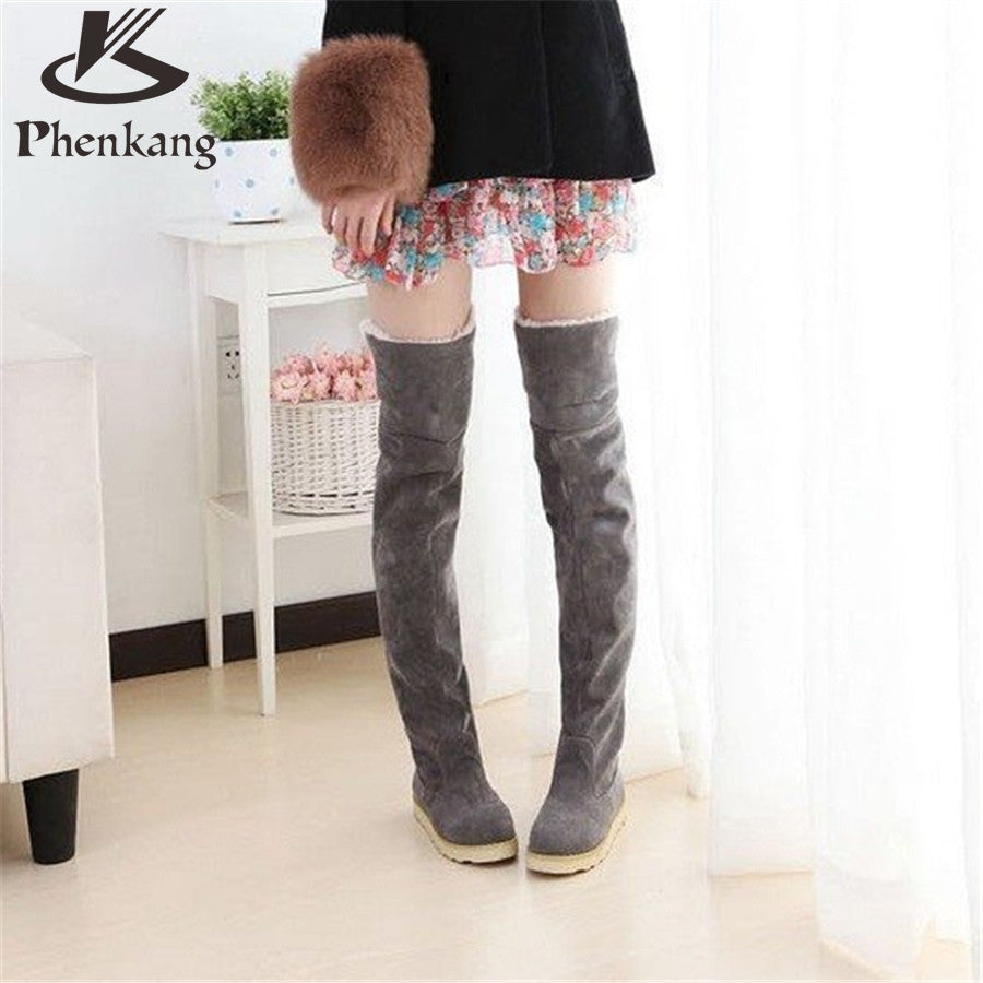 New autumn winter snow boots women flat high knee boots plus velvet shoes Korean version thin boots US size 8.5 with fur - 10MINUS: Online Shopping Destination with High-Quality