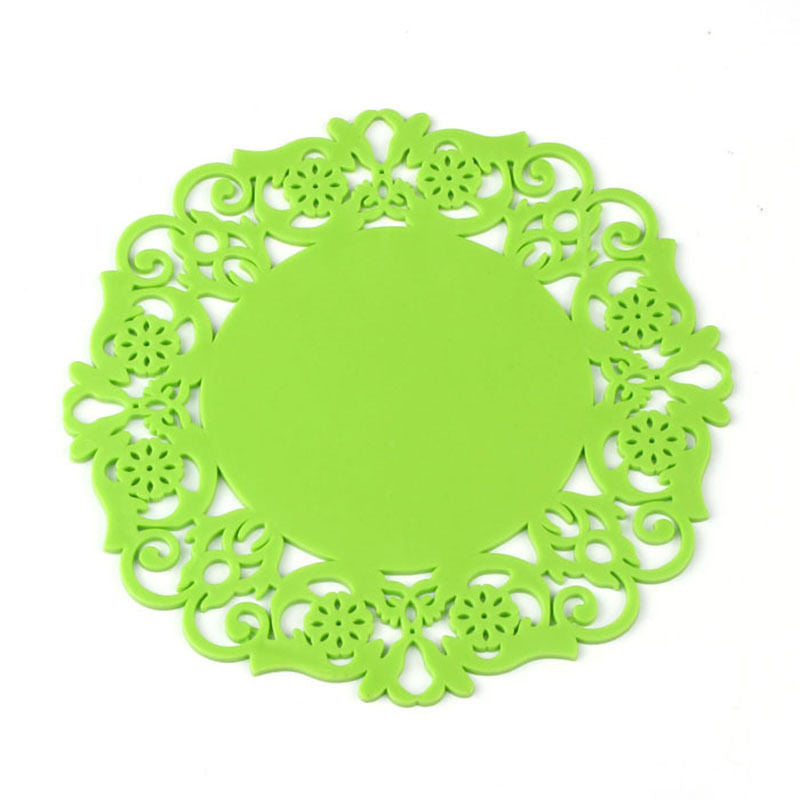 2PCS/Lot Colorful Lace Flower Hollow Design Round Silicone Table Heat Resistant Mat Cup Coffee Coaster Cushion Placemat Pad - 10MINUS: Online Shopping Destination with High-Quality